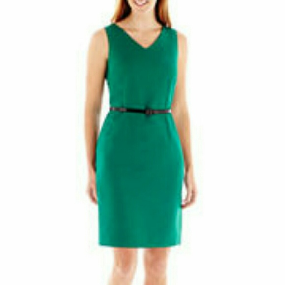 9d3414f924b Evan Picone Black Label Belted Green Sheath Dress