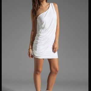 Bcbg white drape cocktail dress Medium NWT