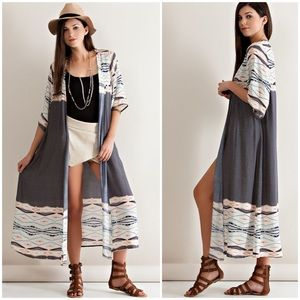 """Love's Philosophy"" Maxi Printed Duster Cardigan"