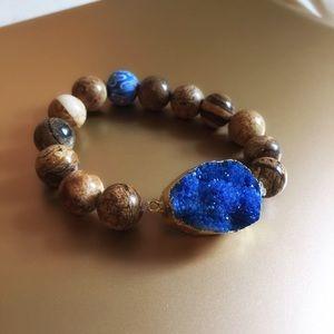 Blue Drusy & Ocean Jasper Bead Bracelet