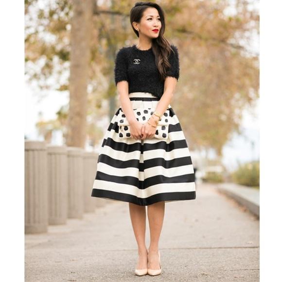 Black And White Striped Full Skirt