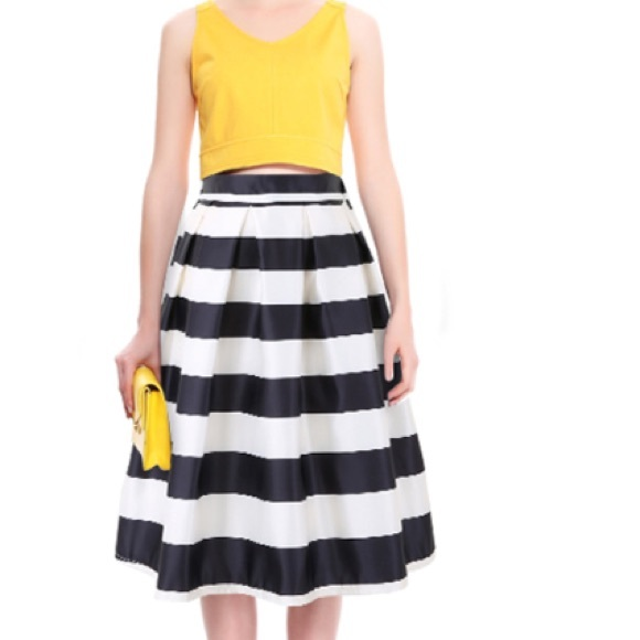 40% off Dresses & Skirts - Retro Black and White Striped Full Midi ...