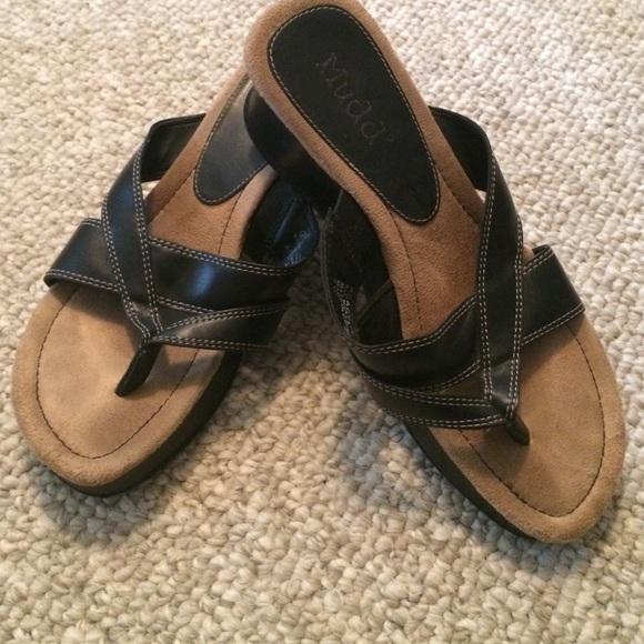 mudd black sandal wedge from s closet on poshmark