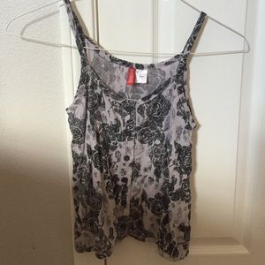 a H&M black and white floral cami