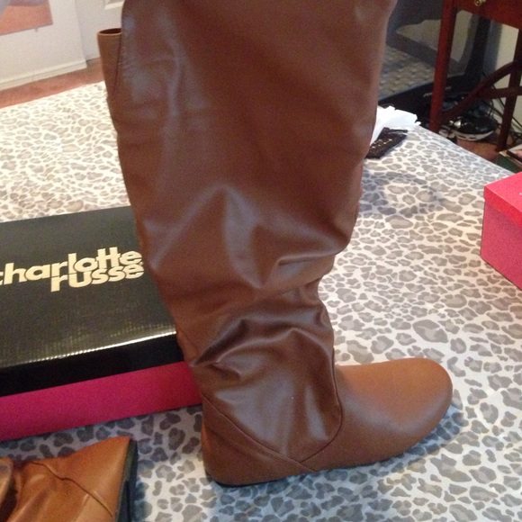39% off Charlotte Russe Boots - Charlotte Russe Wide Calf Cognac ...