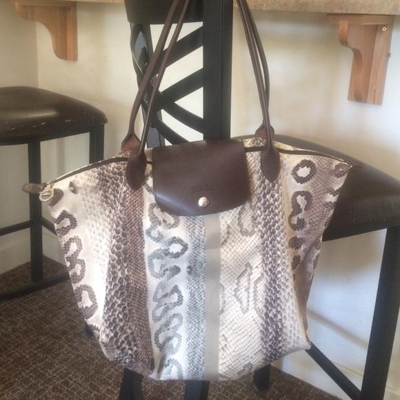 Longchamp Handbags - Longchamp Snakeskin Print Bag a21b7a30ab9ed