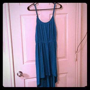 Elegant blue high low dress woth braided straps