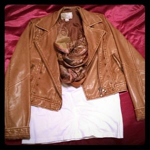 Adorable Tan faux leather jacket
