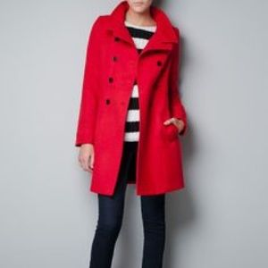 Zara Double Breasted Coat in Red Size Small