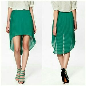 Zara Pleated Hi Low Skirt