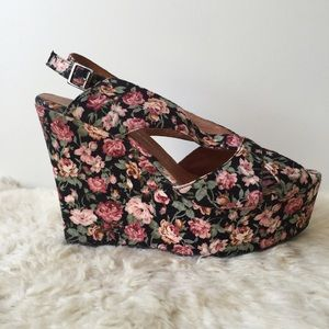 "Jeffrey Campbell Shoes - Jeffrey Campbell Floral ""Mariel"" Wedges"