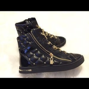 71% off Michael Kors Shoes - Michael Kors Chain laced quilted high ... : michael kors quilted sneakers - Adamdwight.com