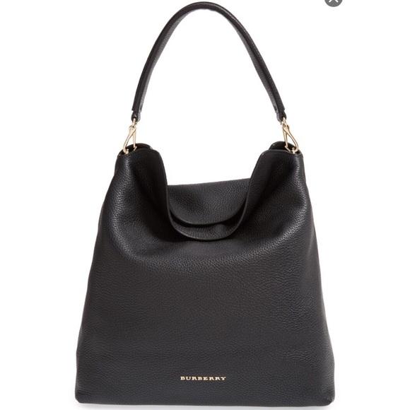 d8f507a783df Burberry Handbags - Burberry Medium Cale Leather Hobo Bag - Black