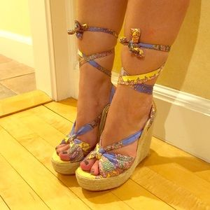 Lace up woven wedges