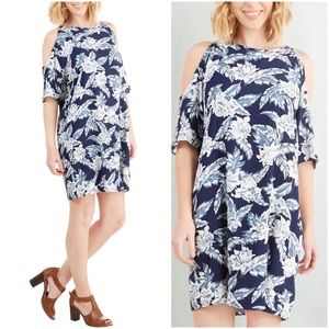 Dresses & Skirts - Cold Shoulder Tropical Blue Dress