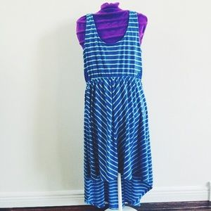 Aqua & Blue Stripe Hi-Low Dress