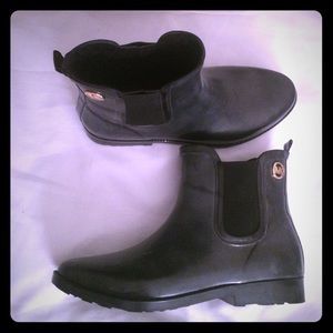 Michael Kors size 10 rubber rain boots leather in