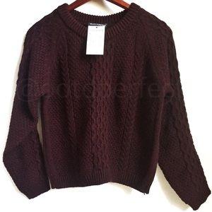 NWT Brandy Melville Maggie Maroon Fisherman Knit
