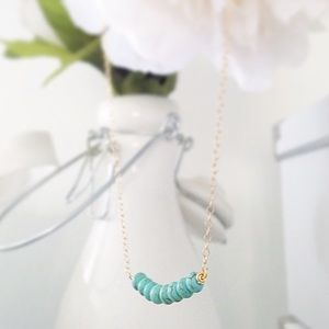 Turquoise (faux) Beaded Gold Filled Necklace