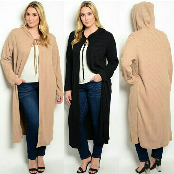 Boutique - Plus size long hooded sweater cardigan duster 4X5X from ...