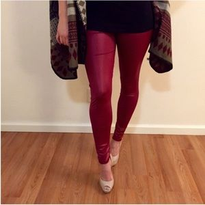 Burgundy Faux Leather/ Wet Look Legging