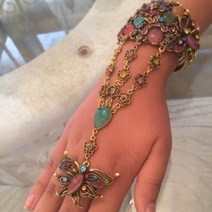 Jewelry - Waterfall Chain Bracelet W/ Adjustable Ring