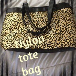 Animal print/black nylon tote bag. NWOT
