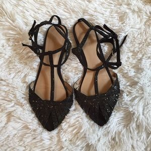 Zara Basic Black Sparkle Flats