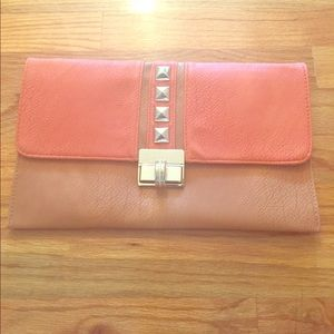 Orange & camel envelop clutch