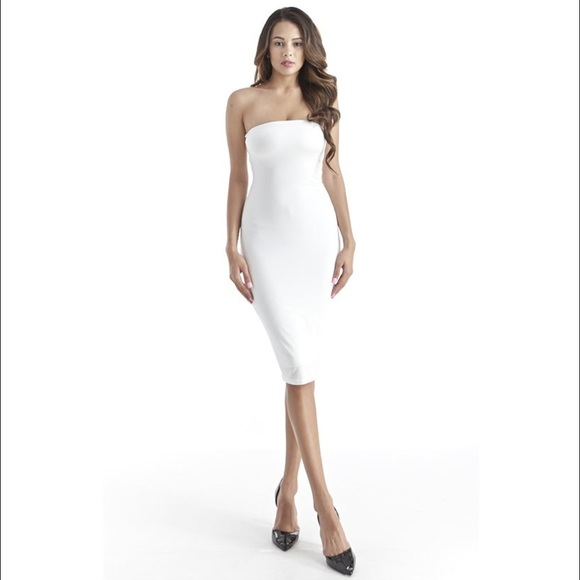 67% off Dresses & Skirts - White strapless bodycon tight tube midi ...