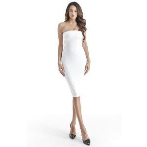 83% off Dresses & Skirts - Large white bodycon midi strapless tube ...