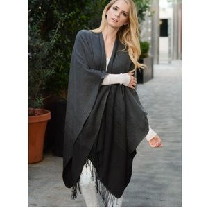 """Another Sky"" Black Ombré Poncho Wrap Cardigan"