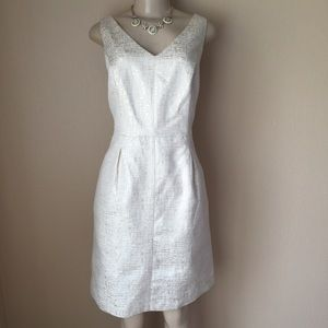 Sleeveless V-neck Metallic Ivory Dress