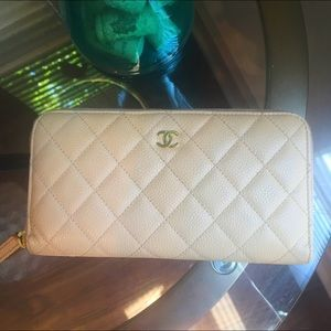 CHANEL Zip Wallet Quilted Grained Calfskin
