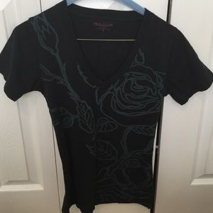 RAW-7 Tops - RAW-7 Roses and Spiderweb Black T-Shirt Sz Small