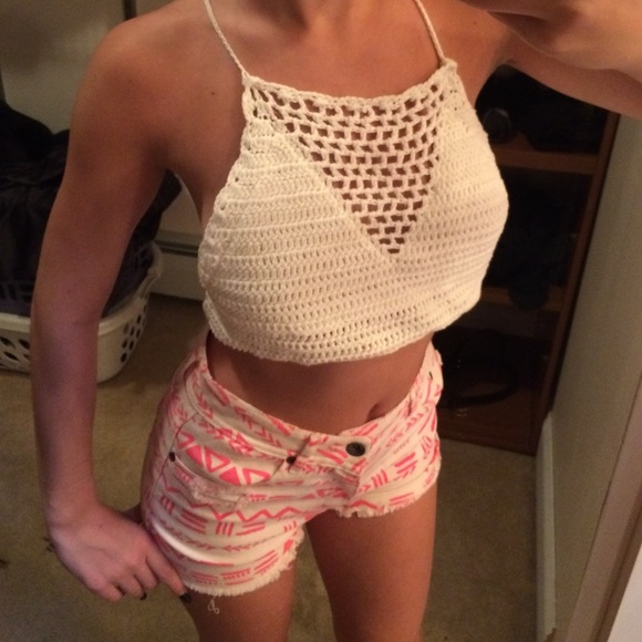 75% off Dollhouse Tops - Crochet crop top and high waisted tribal ...