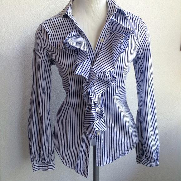 0de91f2b Ralph Lauren Tops | Nwot Bluewhite Stripe Tuxedo Blouse | Poshmark