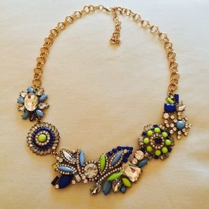 Beautiful neon yellow blue crystal necklace