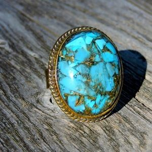 Jewelry - Gold Vein Mojave Turquoise Natural Stone Ring