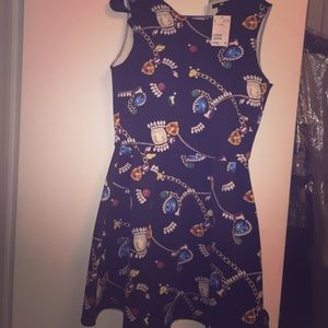 Cute jewel printed scuba a-line dress