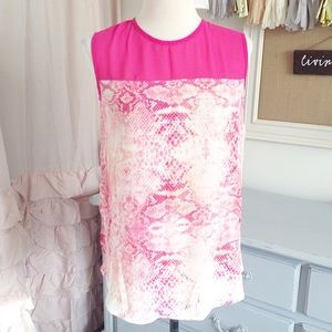 NWT! Vince Camuto Hot Pink Snakeskin Blouse