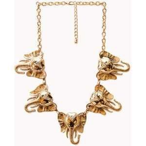 Gold elephant necklace with rhinestones