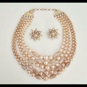 Vintage Simulated Pearls Necklace & Earrings Set