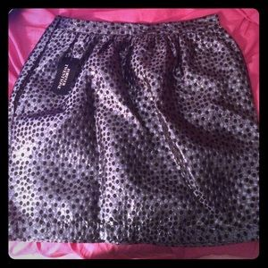Silver, black dot skirt