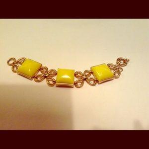 J. Crew Classy Bold Bracelet Squares Yellow Gold