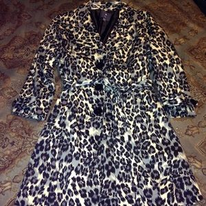 Leopard Trench Coat with tie