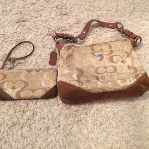 Coach Handbags - Negotiable! Coach signature gold bag and wristlet