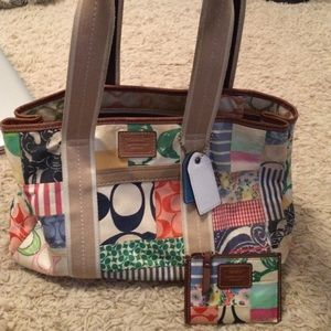 Coach Handbags - Negotiable! Coach patchwork tote and coin purse
