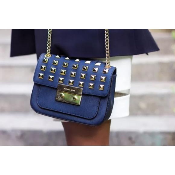 535da304e4b1 Michael Kors blue small Sloan studded shoulder bag.  M 55bcec115020b97c5500a989