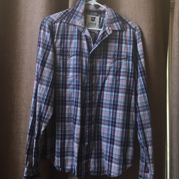 79 off levi 39 s tops plaid shirt great under a sweater for Plaid shirt under sweater